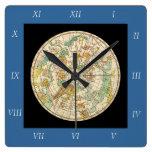 Carta de estrella del cielo y mapa meridionales de reloj de pared