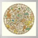 Carta de estrella del cielo y mapa septentrionales posters