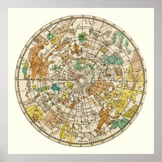 Carta de estrella del cielo y mapa septentrionales póster