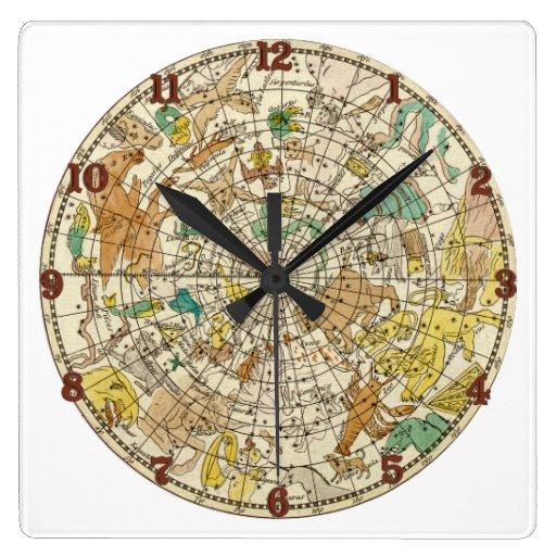 Carta de estrella del cielo y mapa septentrionales reloj cuadrado