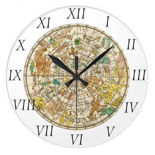 Carta de estrella del cielo y mapa septentrionales reloj redondo grande