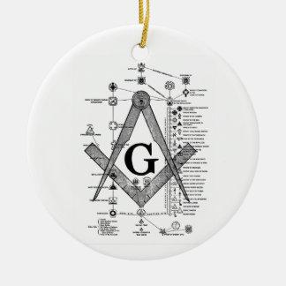 Carta de grados masónicos adorno navideño redondo de cerámica