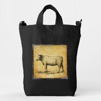 carta de la carne de vaca del vintage con los bolsa de lona duck