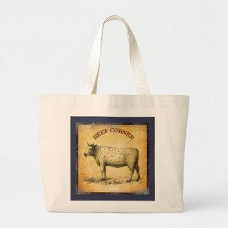 carta de la carne de vaca del vintage con los bolsa tela grande