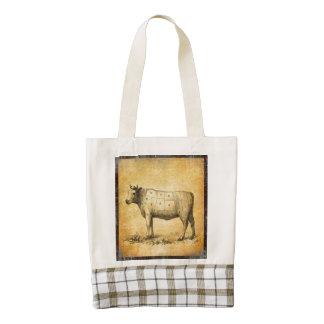 carta de la carne de vaca del vintage con los bolsa tote zazzle HEART