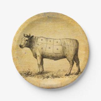 carta de la carne de vaca del vintage con los platos de papel