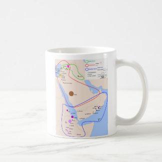 Carta de la distribución de idiomas semíticas taza de café