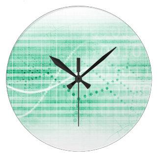 Carta de la investigación científica para el arte reloj redondo grande