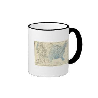 Carta de la lluvia de los E.E.U.U. Tazas De Café