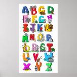 carta de la pared del dibujo animado del alfabeto