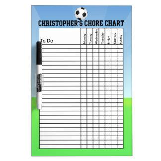 Carta de la tarea del balón de fútbol de los pizarras blancas de calidad