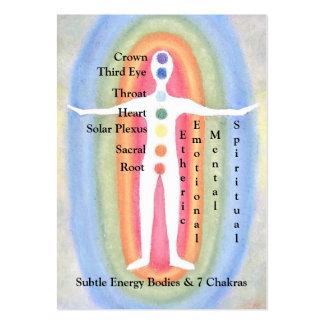 Carta de la tarjeta para los cuerpos sutiles y 7 tarjetas de visita grandes