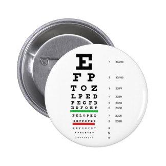 carta de la visión del ojo de Snellen para el ofta Pin Redondo De 2 Pulgadas