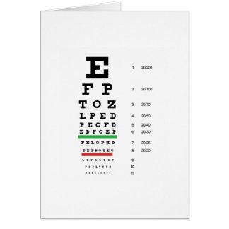 carta de la visión del ojo de Snellen para el ofta Tarjeta De Felicitación