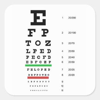 carta de la visión del ojo de Snellen para el Pegatina Cuadrada