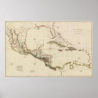 Carta de las Antillas y de los dominios españoles Poster