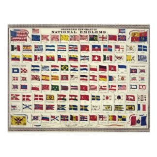 Carta de las banderas nacionales del vintage - postal