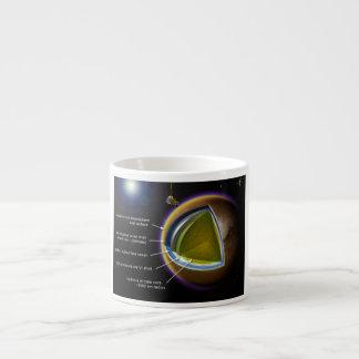 Carta de las capas internas de titán de la luna de taza de espresso