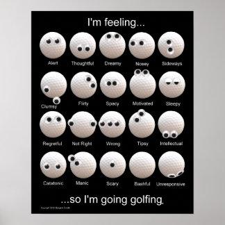 Carta de las emociones de las pelotas de golf poster