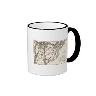 Carta de las fuentes del móvil taza de café