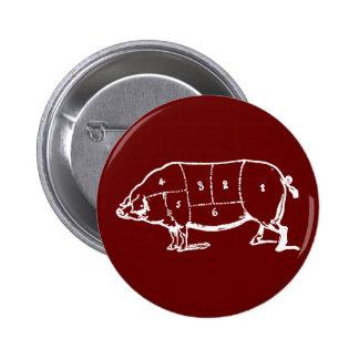 Carta de los carniceros del cerdo (CERDO) - tocino Pin Redondo De 2 Pulgadas
