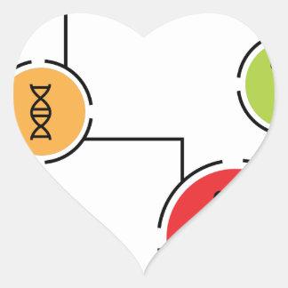 Carta de los datos de la ciencia pegatina en forma de corazón