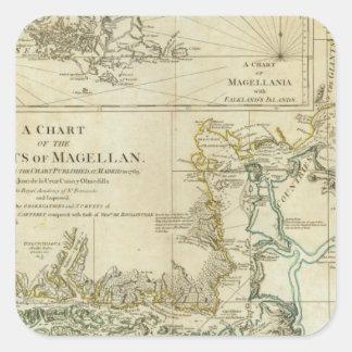 Carta de los Estrecho de Magallanes Pegatina Cuadrada