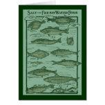Carta de los pescados de la sal y de agua dulce tarjeton