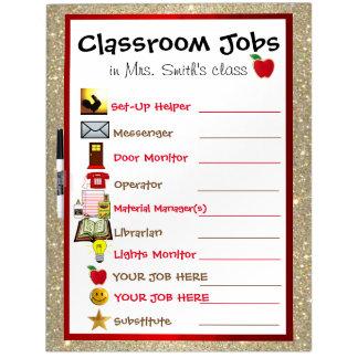 Carta de los trabajos de la sala de clase pizarra