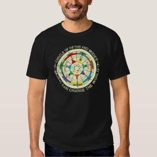 Carta de modos de la música y círculo de quintos camisas