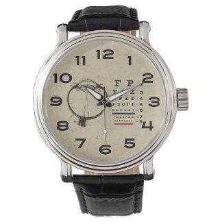 Carta de ojo del oftalmólogo del vintage relojes de mano