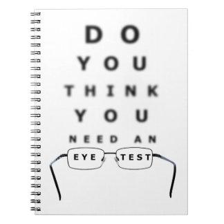Carta de prueba del ojo cuaderno