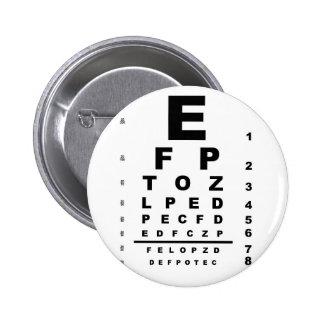 Carta de prueba del ojo pin redondo de 2 pulgadas