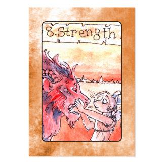Carta de tarot de la fuerza tarjetas de visita grandes