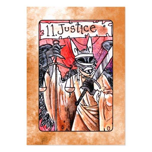 Carta de tarot de la justicia tarjetas de visita grandes
