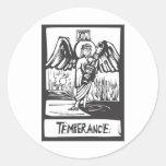 Carta de tarot de la templanza etiqueta redonda