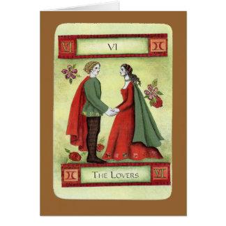 """Carta de tarot """"de los amantes"""" tarjeta de felicitación"""