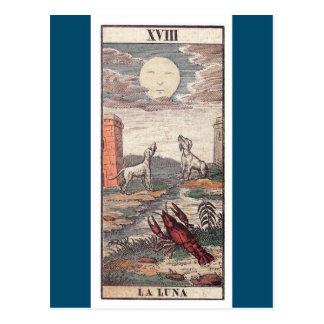 Carta de tarot de Luna del La Tarjeta Postal