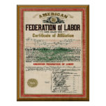 Carta de unión de los fabricantes AFL del cigarro  Impresiones