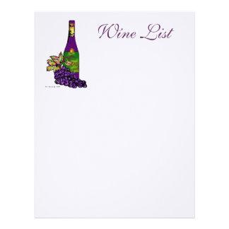 Carta de vinos plantillas de membrete