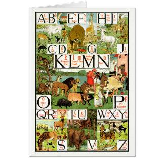 Carta del alfabeto de ABC de Noah en inglés Tarjeta De Felicitación