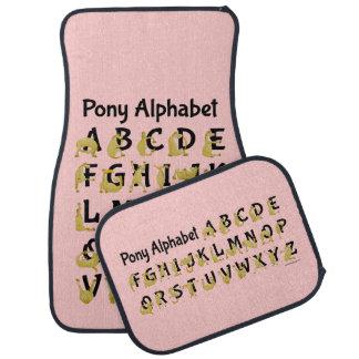 Carta del alfabeto del potro, rosada alfombrilla de auto