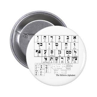 Carta del alfabeto en la lengua hebrea pin redondo de 2 pulgadas