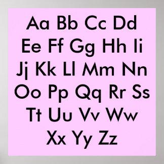 Carta del alfabeto pálida - rosa impresiones