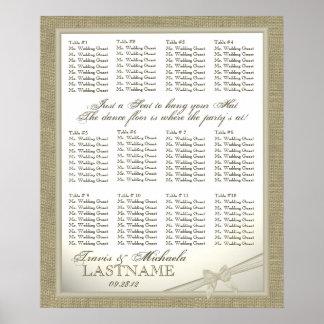 Carta del asiento de la huésped de la arpillera y  póster