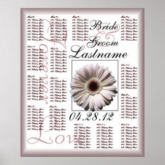 Carta del asiento de la huésped del boda de la mar póster