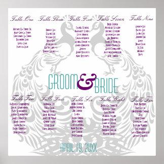 Carta del asiento de la recepción nupcial - pavo r póster