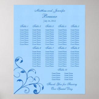 Carta del asiento de la recepción nupcial - tamaño poster