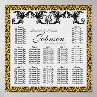 Carta del asiento de la tabla de la recepción, dam póster