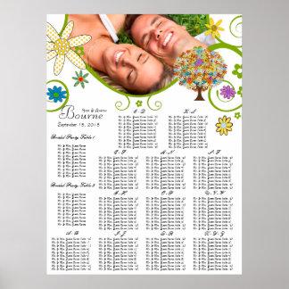 Carta del asiento del árbol de la flor alfabética póster